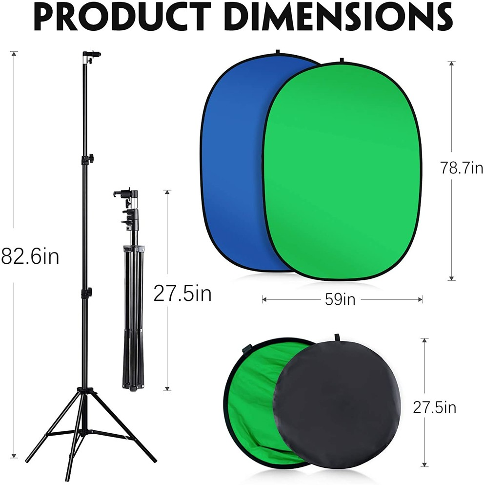 Collapsible Green Blue Screen Backdrop with Stand