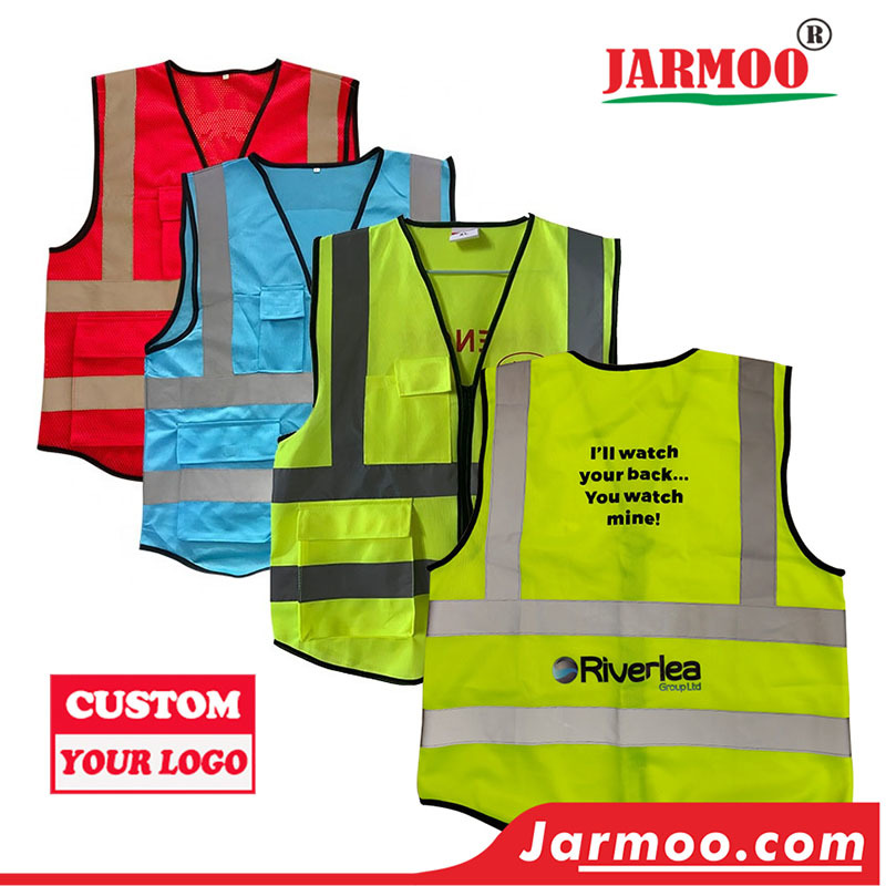 Custom Traffic Safety Vest with Pockets Zipper Vest With High Visibility Reflective Strips